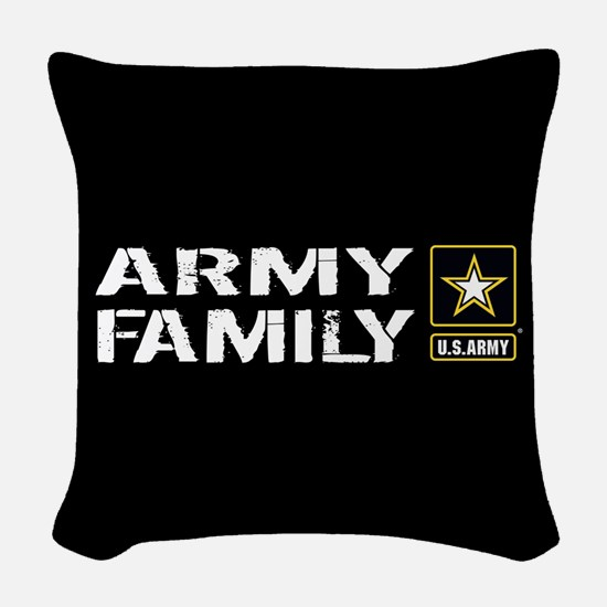 U.S. Army: Family (Black) Woven Throw Pillow