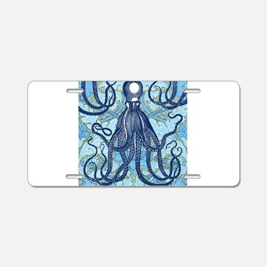 Antique Octopus on Backgrou Aluminum License Plate