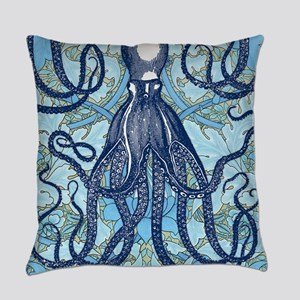 Antique Octopus on Background Everyday Pillow