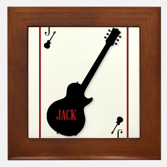 Black Solid Guitar Joker Framed Tile
