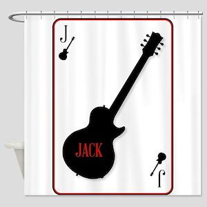 Black Solid Guitar Joker Shower Curtain