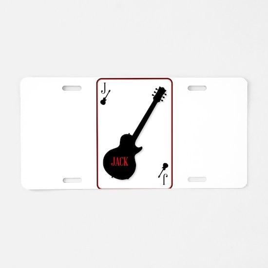 Black Solid Guitar Joker Aluminum License Plate