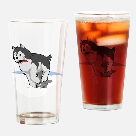 Funny Husky cartoon Drinking Glass