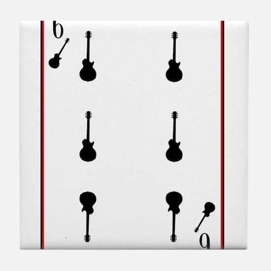 Black Solid Guitar Tile Coaster