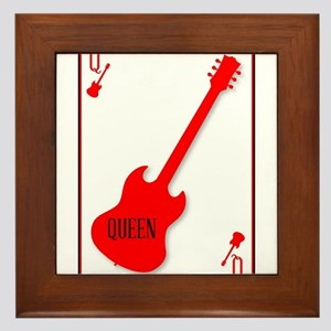 Red Horned Guitar Queen Framed Tile