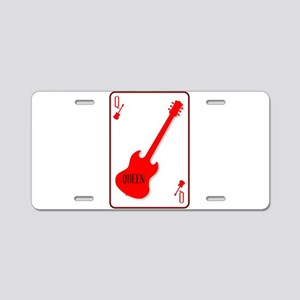 Red Horned Guitar Queen Aluminum License Plate