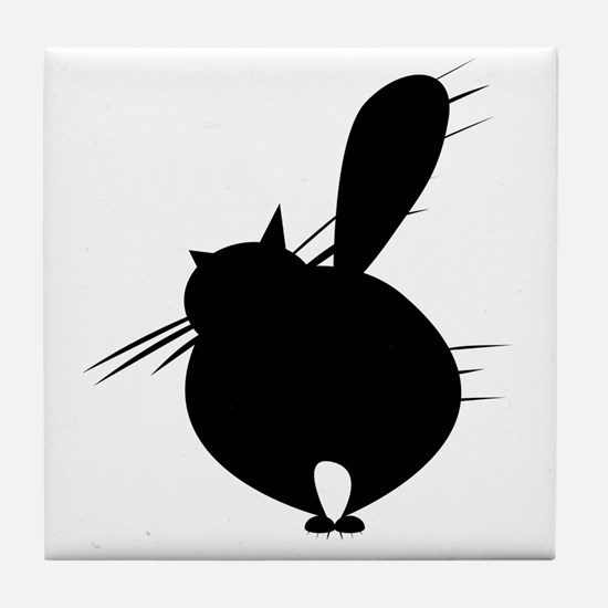 Black cat face Tile Coaster