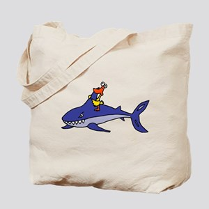 Duck Riding Shark Tote Bag