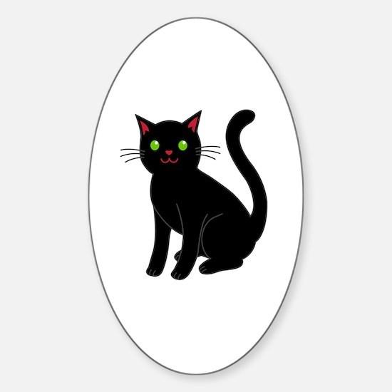 Unique Funny cat face Sticker (Oval)