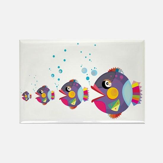 Cool Black fairy cat hugging fish Rectangle Magnet