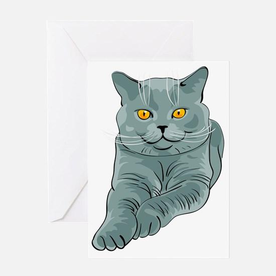 Funny Cat 3 face pink Greeting Card