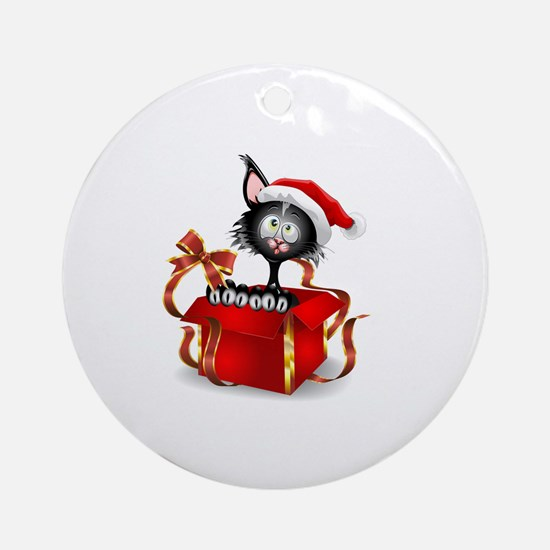 Unique Funny cat christmas Round Ornament