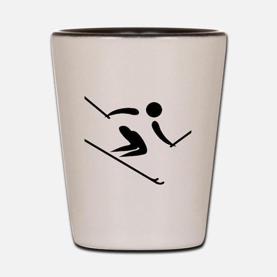 Funny Water ski art Shot Glass