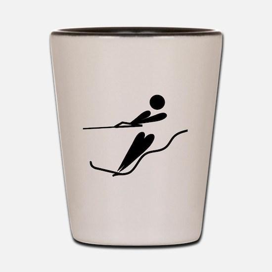 Cute Water ski art Shot Glass