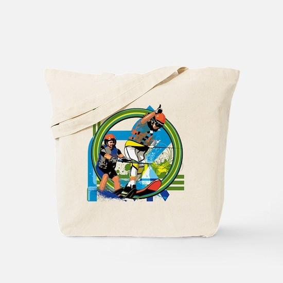 Funny Water ski art Tote Bag