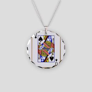 Queen Spades Necklace Circle Charm