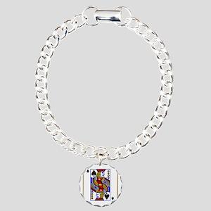 Joker Spades Charm Bracelet, One Charm