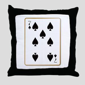 Seven Spades Throw Pillow