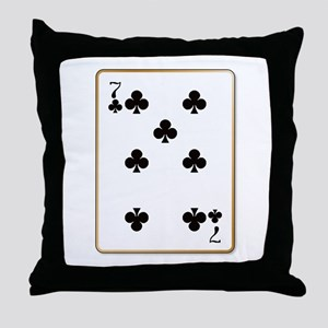 Seven Clubs Throw Pillow