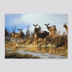 Colorado Mule Deer Herd on Mountain Hillside 5'x7'