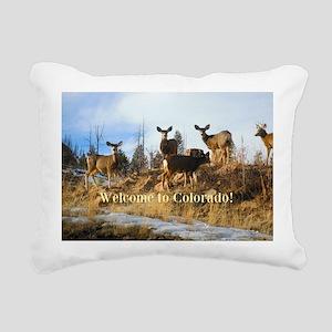 Colorado Mule Deer Herd on Mountain Hillside Recta