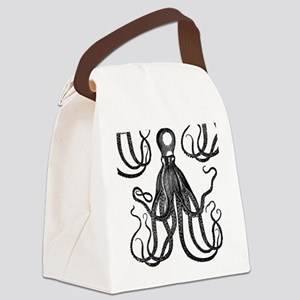 Antique Octopus in Black Canvas Lunch Bag