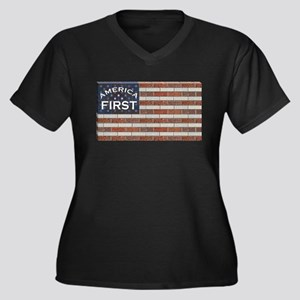 America Firs Women's Plus Size V-Neck Dark T-Shirt