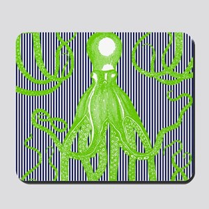 Lime Green Antique Octopus on Navy Strip Mousepad