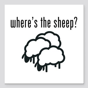 "Where's The Sheep? Square Car Magnet 3"" X"