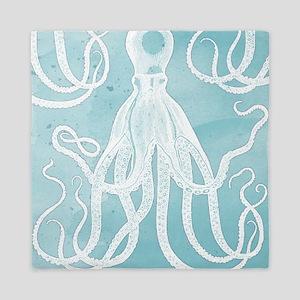 Antique Octopus on Background Queen Duvet