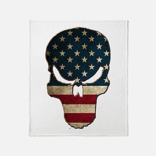 Punishing Skull with American Flag Throw Blanket