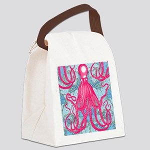 Antique Octopus on Background Canvas Lunch Bag