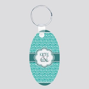 Personalized Owl Gift Teal Aluminum Oval Keychain