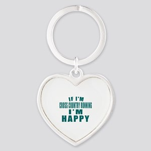 If I Am Cross Country Running Heart Keychain