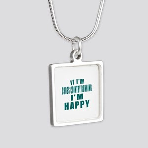 If I Am Cross Country Runn Silver Square Necklace