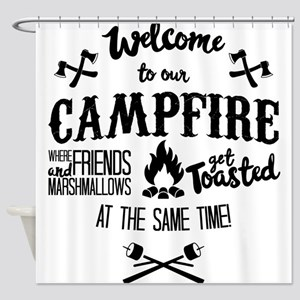 Getting Wasted at Campfire Shower Curtain