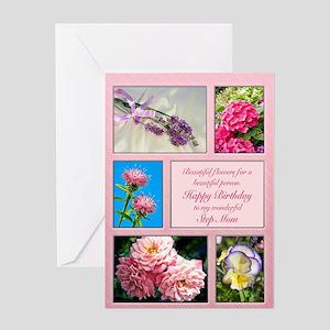 For step-mom, beautiful flowers birthday card Gree