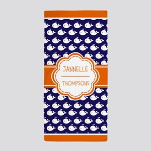 Persoanlized Navy Whale Pattern Beach Towel