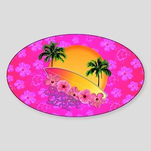 Surfer Girl Pink Floral Sticker