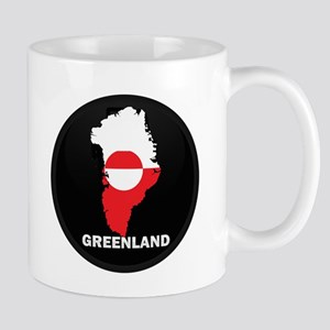 Flag Map of Greenland Mugs