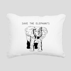 Save the Elephants Rectangular Canvas Pillow