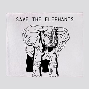 Save the Elephants Throw Blanket
