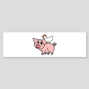 White Chicken Standing on Pink Pig Bumper Sticker
