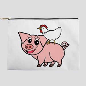 White Chicken Standing on Pink Pig Makeup Bag