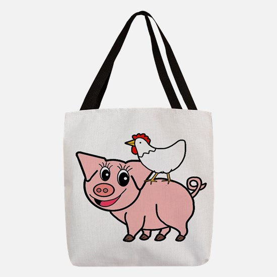 White Chicken Standing on Pink Pig Polyester Tote