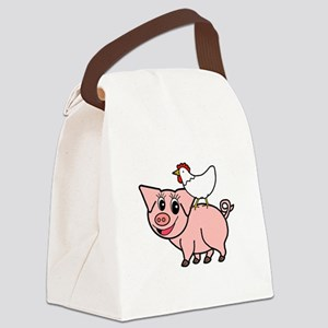 White Chicken Standing on Pink Pig Canvas Lunch Ba