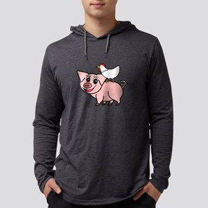 White Chicken Standing on Pink Pig Long Sleeve T-S