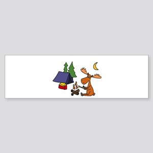 Funny Moose Camping Bumper Sticker
