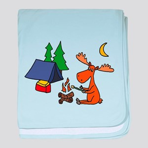 Funny Moose Camping baby blanket
