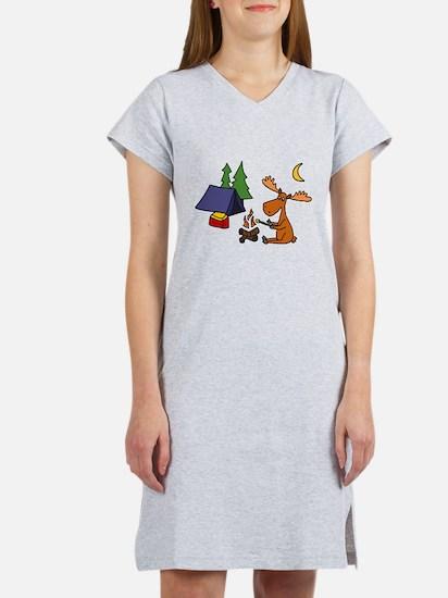 Funny Moose Camping Women's Nightshirt